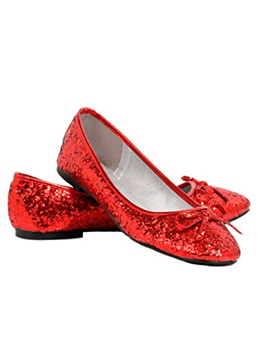 Ellie Shoes Women's Glitter Flat with Bow (Red Glitter;9) ()