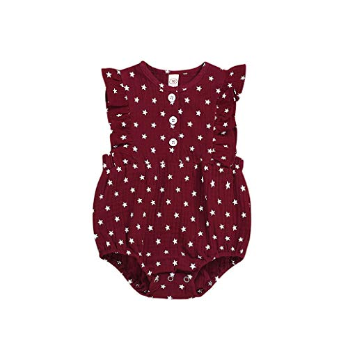 Infant Baby Girls Boys Romper, Ruffle Sleeve Classic Stars Print Bodysuit, Retro Basic Jumpsuit for Newborn Red -