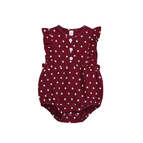 Infant Baby Girls Boys Romper, Ruffle Sleeve Classic Stars Print Bodysuit, Retro Basic Jumpsuit for Newborn Red]()