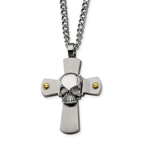 ICE CARATS Stainless Steel Yellow Plated Skull On Cross Religious 24 Inch Chain Necklace Man Pendant Charm Gothic Fashion Jewelry Gift for Dad Mens for Him