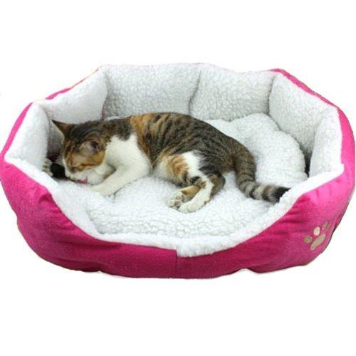niceEshop Comfortable Pets Dog Cat Puppy Kitten Soft Fleece Bed Pet House Nest Pad Mat Hot Pink