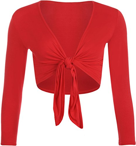 Ladies Long Sleeve Bolero Crop Front Tie Shrug Stretchy Cardigan Top (L/XL, Red)
