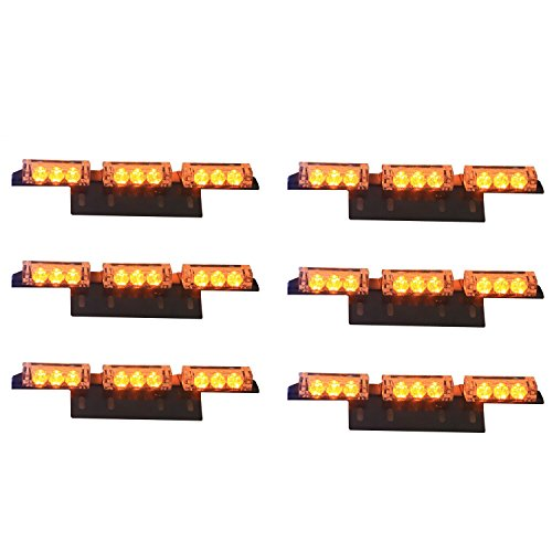 2 PCS LED Amber Light Emergency Warning Strobe Flashing Yellow Bar - 6