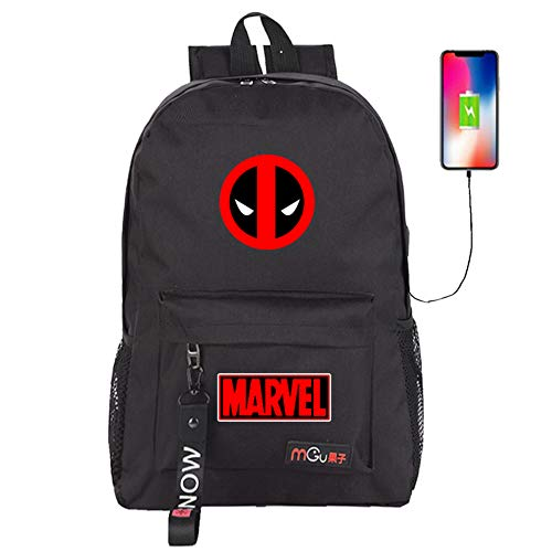 YOURNELO Boy's Leisure Deadpool Shoulder Bag Rucksack School Backpack with USB Charging Port (Black 2) -