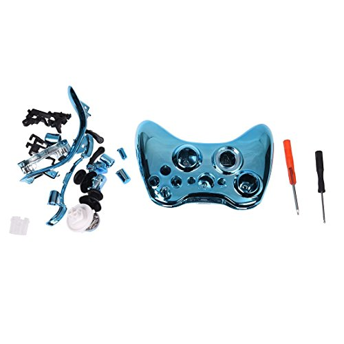 TOOGOO(R) Blue Chrome Full Housing Shell Case Cover for Xbox 360 Wireless Controller