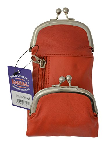 (Genuine Leather Cigarette and Lighter Case with Twist Clasp by Marshal (Red))