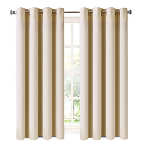 Balichun 2 Panles Blackout Curtains Thermal Insulated Grommets Drapes for Bedroom/ Living Room 52 by 63 Inch Beige
