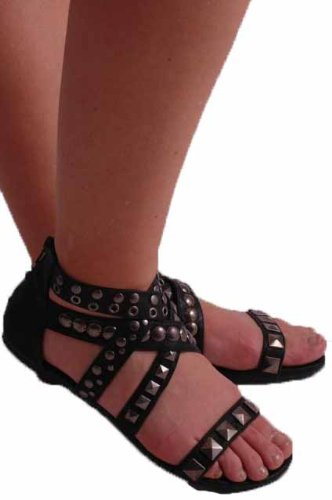 EyeCatchShoes - Olympus Strappy Gladiator Sandals Black aWk13UB