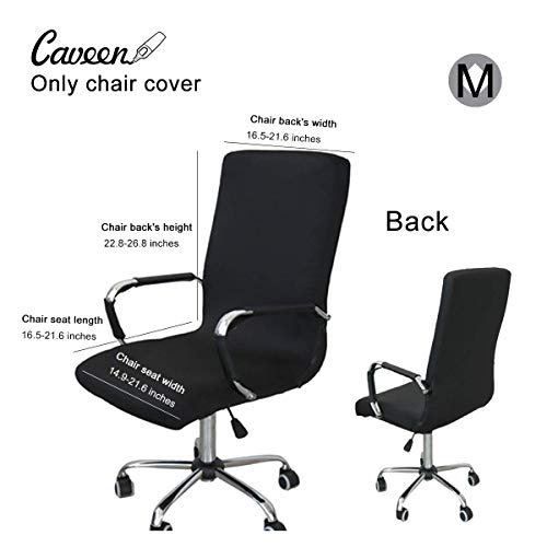 CAVEEN Office Chair Cover Computer Chair Universal Boss Chair Cover Modern Simplism Style High Back Large Size (Chair not Included) Black Medium