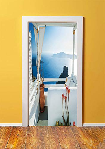 European 3D Door Sticker Wall Decals Mural Wallpaper,Holiday Terrace with Sea at Sunset Architecture on Santorini Island Greece,DIY Art Home Decor Poster Decoration 30.3x78.2465,Turquoise and Blue