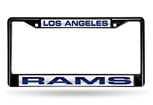 NFL Los Angeles Rams Laser Cut Inlaid Standard Chrome License Plate Frame, 6'' x 12.25'', Black by Rico