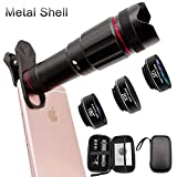 Phone Camera Lens, Faireach 4 in 1 Cell Phone Lens Kit - 18X Zoom Telephoto Lens +180° Fisheye Lens + 120° Wide Angle Lens+ 20XMacro Lens Compatible with iPhone X XS Max XR/8 Samsung Android
