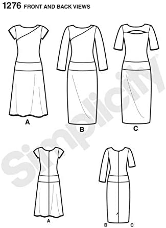 SIMPLICITY US1276H5 Misses and Miss Petite Knit Dress Sewing Template