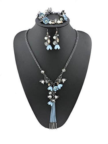 BOCAR Long 2 Layer Chain Unique Flower Pendant Tassels Necklace Bracelet Earrings Women Jewelry Set (SET-1010-blue)
