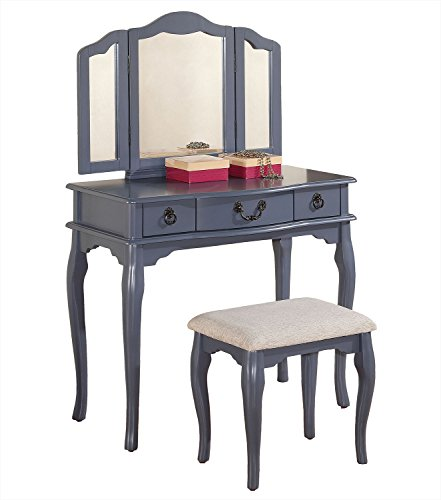 (Poundex PDEX-F4091 Bobkona Susana Tri-Fold Mirror Vanity Table, F4091, Grey)