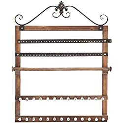"Deco 79 51063 Wood Wall Jewelry Rack, 23"" W/30 H"
