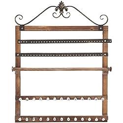"""Deco 79 51063 Wood Wall Jewelry Rack, 23"""" W/30 H"""