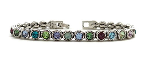 Patricia Locke Waterlily Multi Color Game Match Set Swarovski Crystal Silver Plated Bracelet