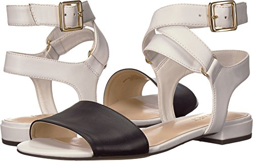Nine West Flat Sandals - Nine West Women's INCH Flat Sandal, White/Navy Synthetic, 7 M US