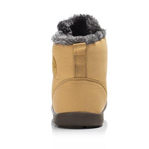 Dannto Women High Winter Outdoor Lined Boots Fur Booties Yellow Snow Warm Shoes Waterproof Ankle Men for Top ZSnrwqZWR