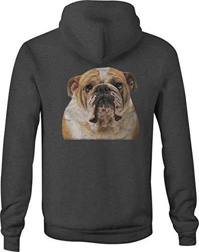 Zip Up Hoodie English Bulldog Love Hooded Sweatshirt for Men - XL Gray ()