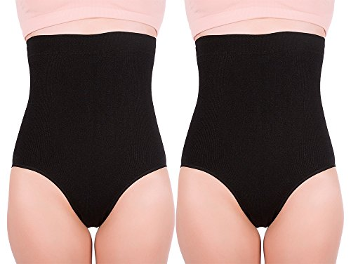 Women's Hi-waist Seamless Firm Control Tummy Slimming Shapewear Panties (Small, Black (2 pack))