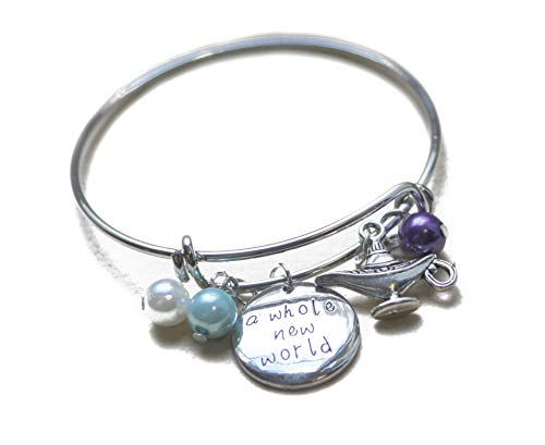 Aladdin Charm Bracelet Jewelry Walt Disney Costume Merchandise In Silver Aladdin Message Expandable SilverBangle Bracelet