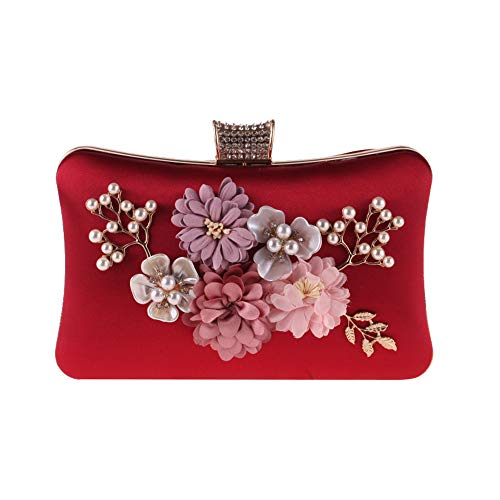 en Main Femme Mariage Polyester Main Box Girls à Embrayage Party pour de Couleur Styhatbag Sac de Clutch Rouge avec Ladies Sac Bleu Womens Clutch Perles décoration à à Crystal qW0Ow8