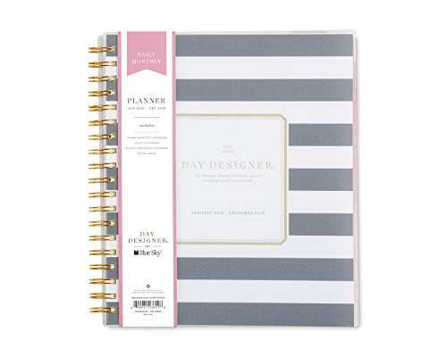 "Day Designer for Blue Sky 2018 Daily & Monthly Planner, Twin-Wire Binding, 8"" x 10"", Navy Stripe"