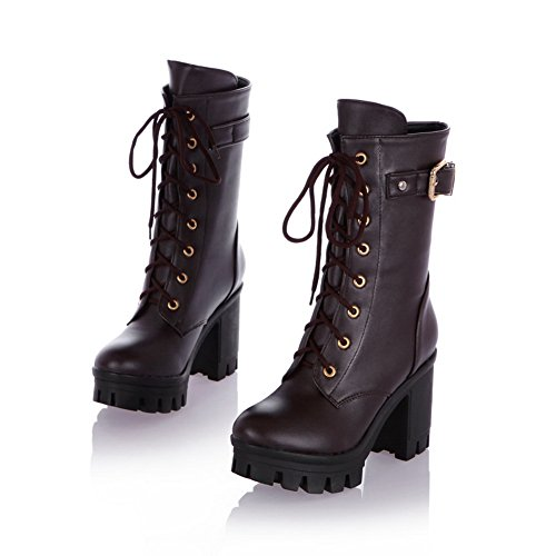 Platform Brown Material Bandage Soft Chunky Heels Boots Girls 1TO9 nR8WIq68