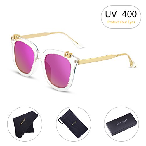 WISH CLUB Fashion Polarized Sunglasses for Women Mirrored Lens for Girls Horn Rimmed Eyewear with UV 400 and Metal Frame Glasses (Pink) 2001