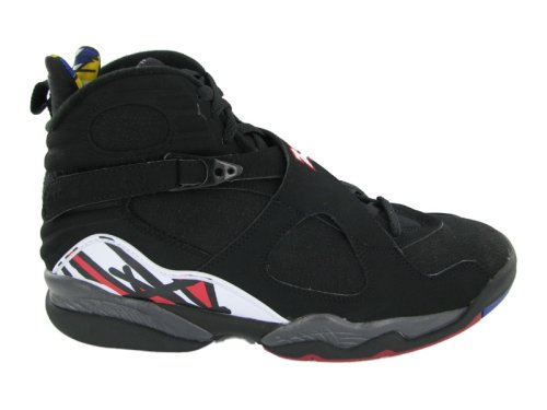 NIKE Mens Air Jordan 8 Retro Playoff Black/Varsity Red Leather Basketball Shoes Size 9.5