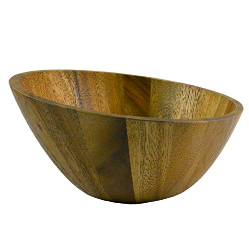 roro Acacia Wood Slanted Modern Salad and Serving Bowl, 10 Inch -
