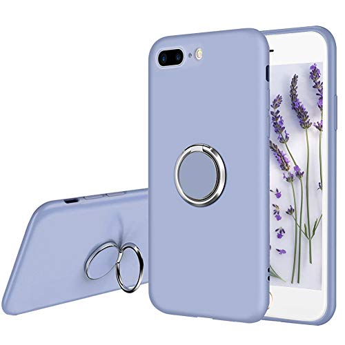 Ownest Compatible with iPhone 7 Plus/iPhone 8 Plus Case Liquid Silicone with Built-in 360 Rotatable Ring Kickstand Fit Magnetic Car Mount Slim Rubber Shockproof for iPhone 7/8 Plus-(Gray-Purple 4)