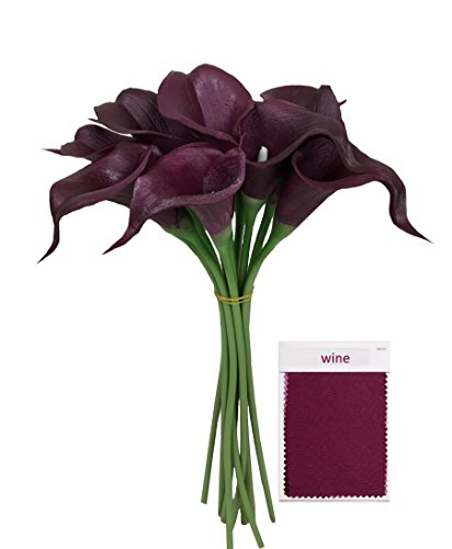 10pc set Real Touch calla lily-Premium Fragrance keepsake artificial flower perfect for cut to make boutonniere corsage bouquets (Wine(Burgundy)) Burgundy Wedding Flowers