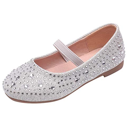 Orfilaly Babys Girls Princess Shoes Toddler Pure Color Soft Bottom Slip On Rhinestone Loafers School Shoe Party Sandals Silver