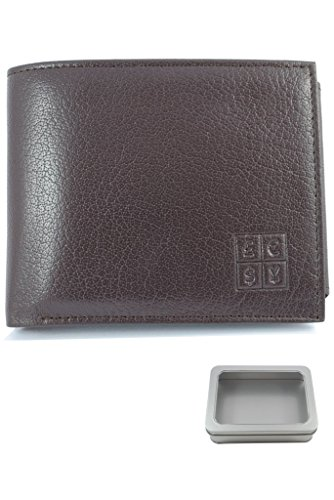 COLLAR AND CUFFS LONDON Multi Function Leather Wallet - Genuine Textured Leather - Two Note Sections - Seven Card Slots - Coin Compartment - Photo ID - Oak Brown - Slim - With Gift Tin
