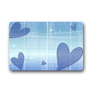 Luz azul arte amor corazón patrón antideslizante Felpudo, Floor Mat felpudo alfombra para interiores/exteriores/puerta delantera/dormitorio Mats 23,6(L) X 15,7(W) pulgada