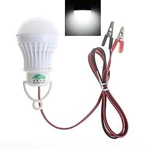 Leedfsw Zweihnder Alligator clip 3W 280LM 5500-6000K 6x5730 SMD LEDs White Light Globe Bulb (DC 12V)