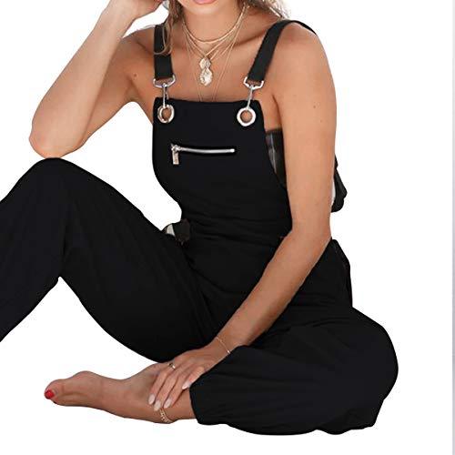 Pantalone con zip multi tasche e pantaloni lunghi da donna Black
