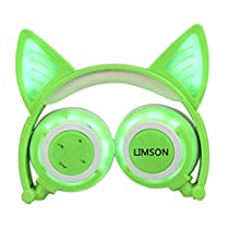 LIMSON Cat Ear Headphones Use Bluetooth Over-Ear Stereo Kids Headsets with Mic, Whole Body Flashing Rhythm Glowing Foldable 3.5mm Earphones LX-BLR108