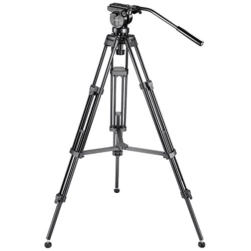 Neewer Professional 61 inches/155 centimeters Aluminum Alloy Video Camera Tripod with 360 Degree Fluid Drag Head,1/4 and 3/8-inch Quick Release Plate and Bubble Level,Load up to 26 pounds/12 kilograms by Neewer