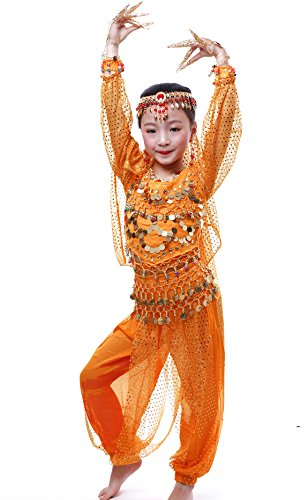 Astage Girls Long Sleeve Belly Dance Carnival Sets All accessories Orange M by Astage
