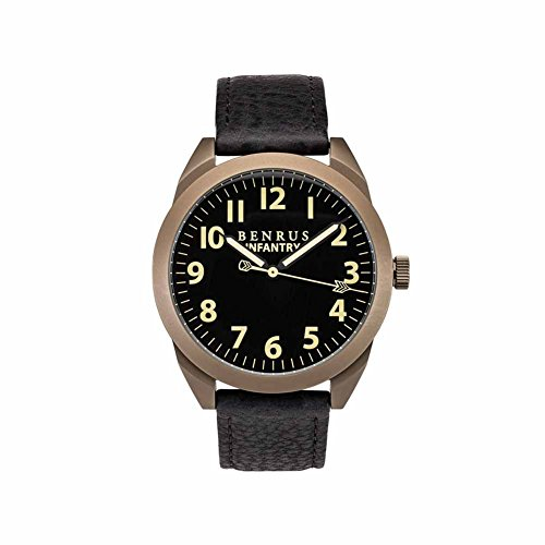 BENRUS Men's BR021-J Infantry Watch with Black Leather Band