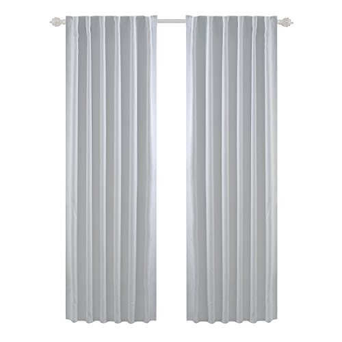 Deconovo Back Tab and Rod Pocket Curtains Blackout Curtains Thermal Insulated Room Darkening Curtains for Bedroom 52x95 inch Platinum White 2 Panels -