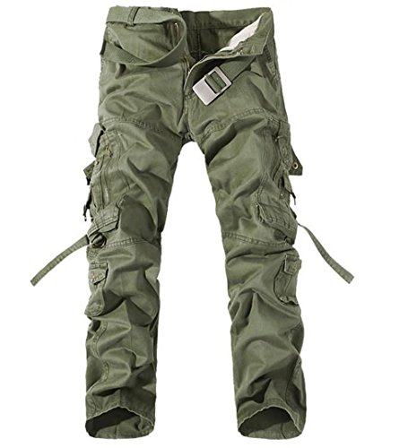 OSdream Multi Pocket Tactical Pants , Battle Strike Uniform TROUSERS, Camping Hiking Hunting Paintball Airsoft Pants (Green, S-long 31