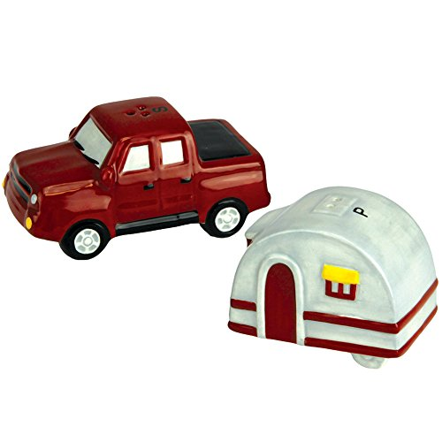 (Pickup Truck And Camper Trailer Road Trip Ceramic Salt And Pepper Shaker Set)