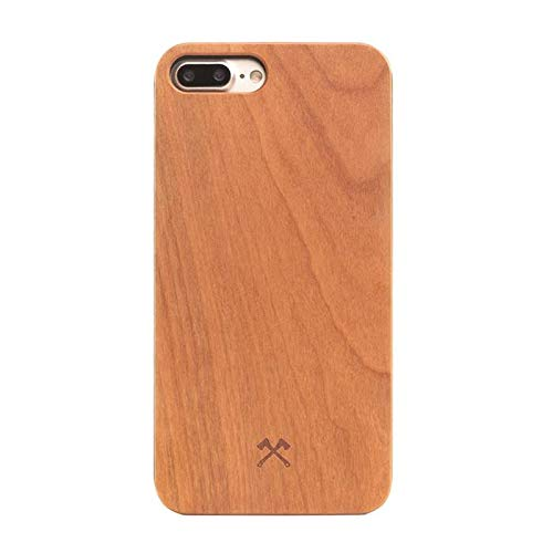 Woodcessories - Case Compatible with iPhone 7 Plus/ 8 Plus of Real Wood, EcoCase Classic (Cherry/Black)