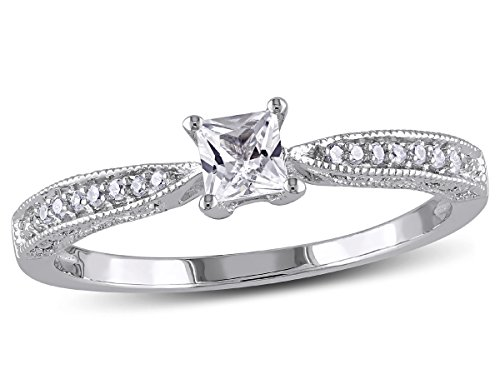 Created White Sapphire 1/4 Carat (ctw) Princess Cut Engagement Ring with Diamonds in Sterling Silver ()