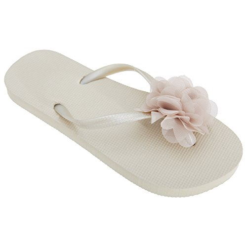 Floso Dames / Dames Plain Teen Post Slippers Met 3d Bloem Detail Koraal